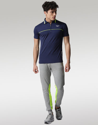 Men Grey Melange Joggers with Refelectors