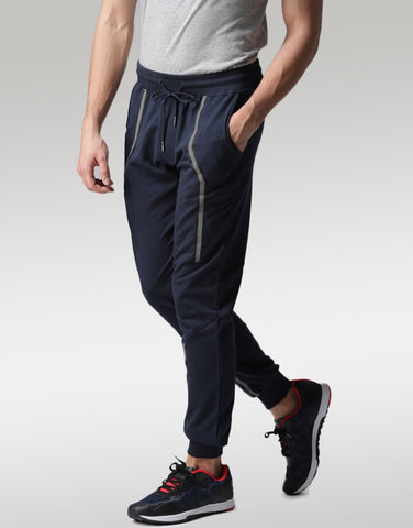Men Navy Joggers with Refelectors