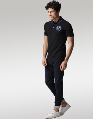Men Black Solid Polo T-shirt
