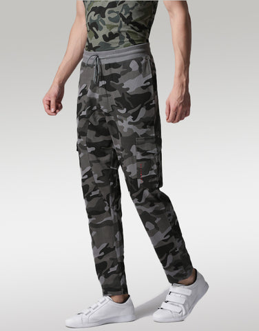 Men Charcoal Grey Camouflage Printed joggers
