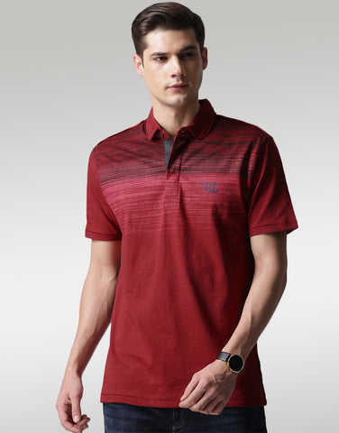 Men Maroon Printed Polo T-shirt