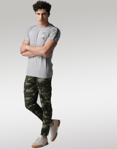 Men Olive Green Camouflage Printed joggers