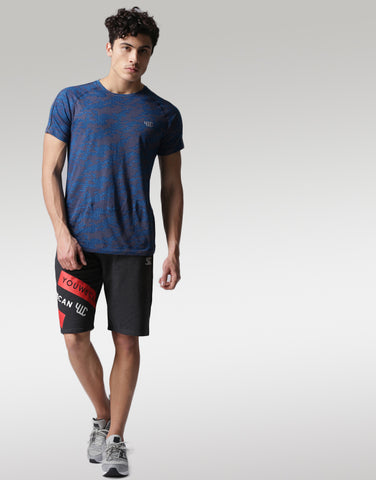 Men Charcoal Grey Printed Regular Fit Sports Shorts