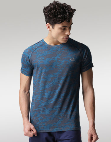 Men Blue Printed T-shirt