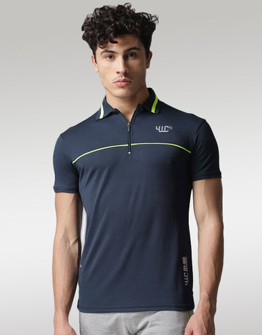Men Navy Polo Printed T-shirt