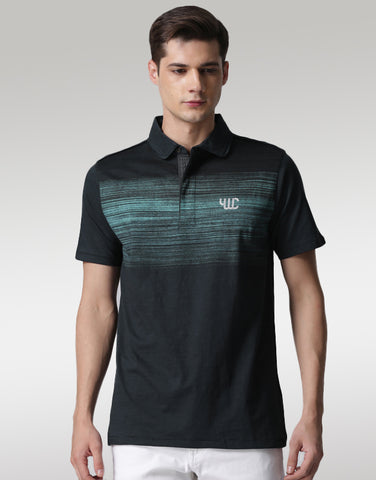Men Navy Printed Polo T-shirt