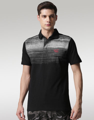 Men Black Printed Polo T-shirt