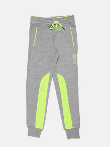 Boys Grey Melange & Lime Green Joggers