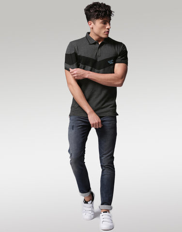 Men Charcoal Black Solid Polo Collar T-shirt