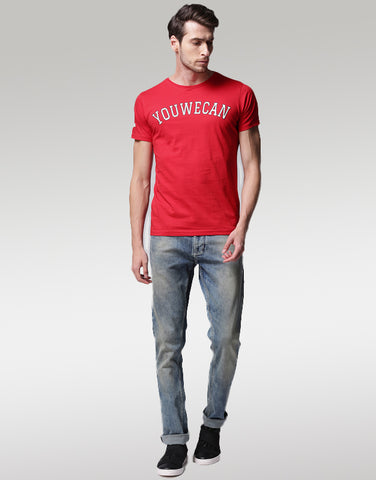 Men Red Printed Round Neck T-shirt