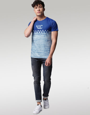 Men Blue Printed Round Neck T-shirt