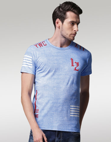 Men Blue Solid Round Neck T-shirt
