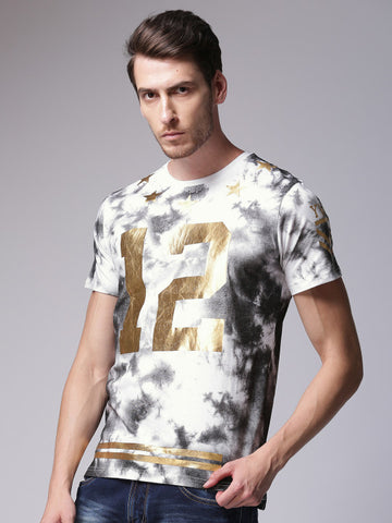Men White and Charcoal Printed Round Neck T-shirt