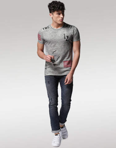 Men Charcoal Grey Printed Round Neck T-shirt