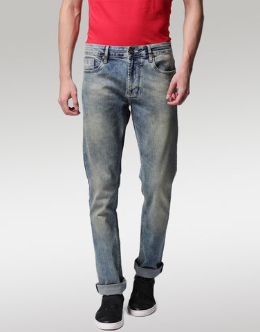 Men Blue Slim Fit Mid-Rise Low Distress Stretchable Comfort Jeans