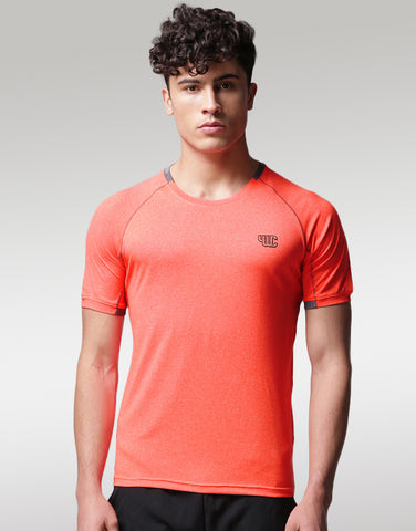 Men Orange Solid Round Neck T-shirt