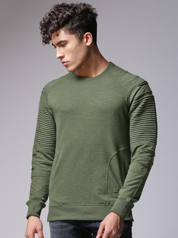 Men Olive Green Solid Sweatshirt