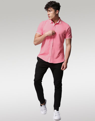 Men Pink Self-Design Casual Shirt