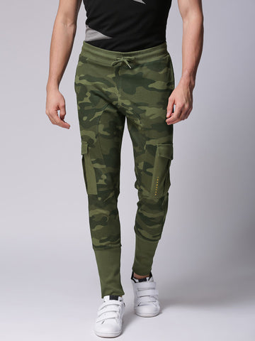 Men Olive Green Printed Joggers