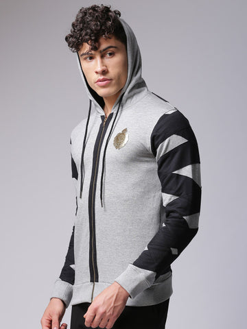 Men Grey & Black Solid Hooded Sweatshirt