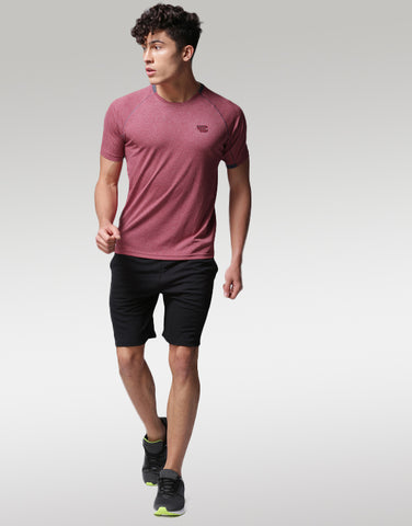 Men Red Solid Round Neck T-shirt