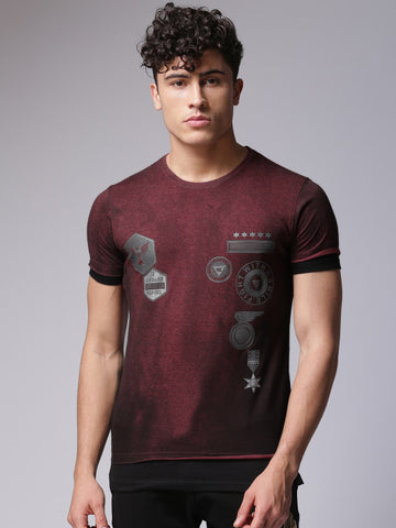 Men Burgundy Printed Round Neck T-shirt