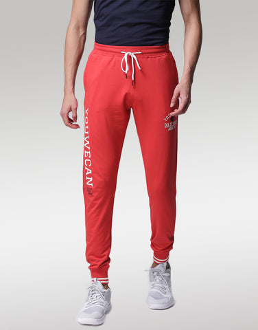 Men Red Printed Joggers