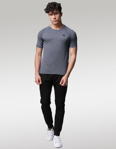 Men Navy Solid Round Neck T-shirt