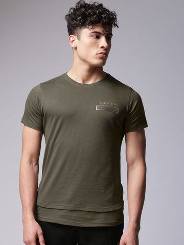 Men Olive Green Solid Round Neck T-shirt