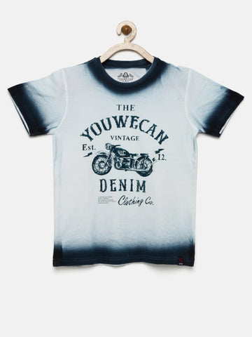 Boys White & Blue Printed Round Neck T-shirt