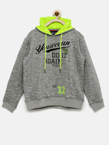 Boys Grey Printed Hooded Sweatshirt