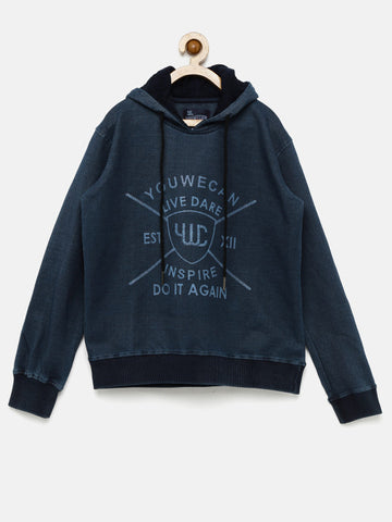 Boys Blue Printed Hooded Sweatshirt