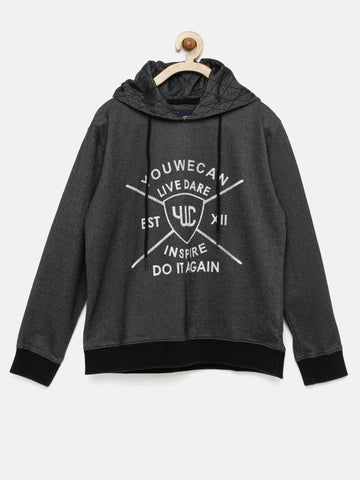 Boys Black Printed Hooded Sweatshirt