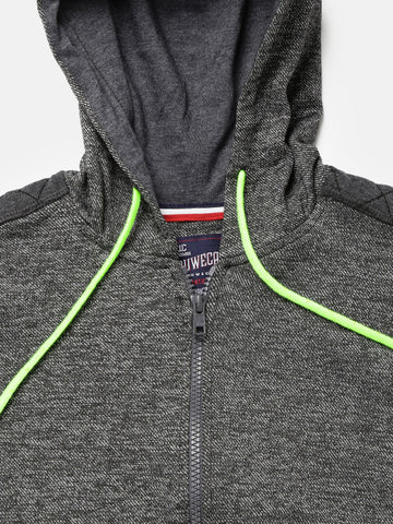 Boys Grey Self-Design Hooded Sweatshirt