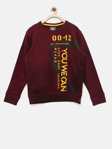 Boys Maroon Printed Sweatshirt