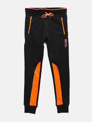 Boys Black Solid Track Pants