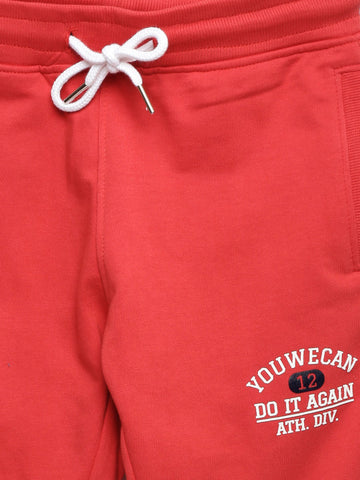 Boys Red Solid Track Pants