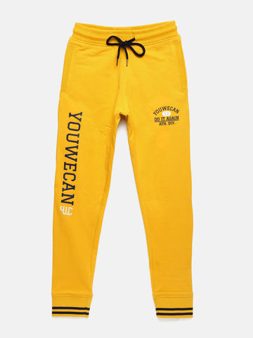 Boys Mustard Solid Track Pants