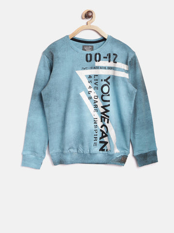 Boys Blue Printed Sweatshirt