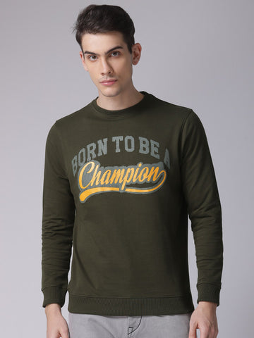 Men Olive Green Printed Sweatshirt
