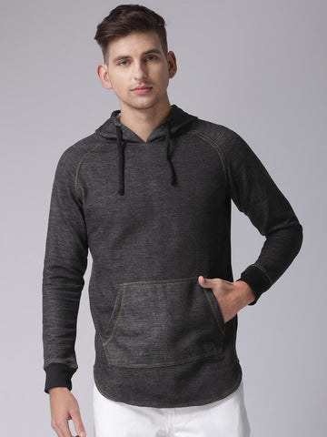 Men Black Solid Hooded Sweatshirt