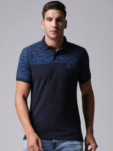 Men Navy Solid Polo Collar T-shirt