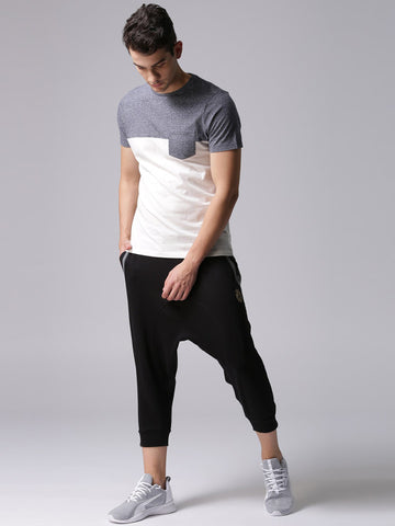 Men Black Solid 3/4th Joggers