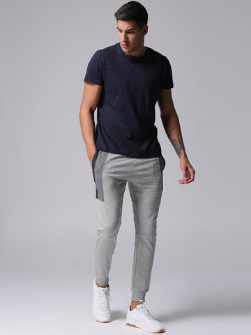 Men Grey Melange Solid Joggers