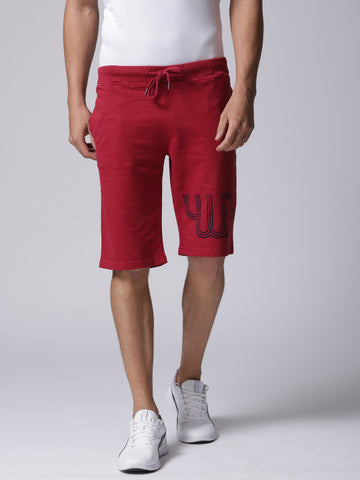 Men Red Solid Regular Fit Regular Shorts