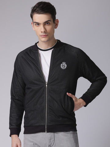 Men Black Solid Bomber