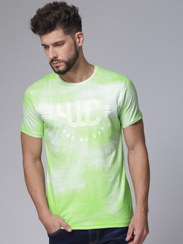 Men Green Printed Round Neck T-shirt
