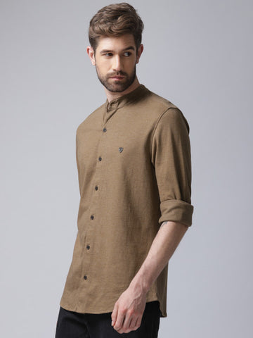 Men Brown Regular Fit Solid Casual Shirt