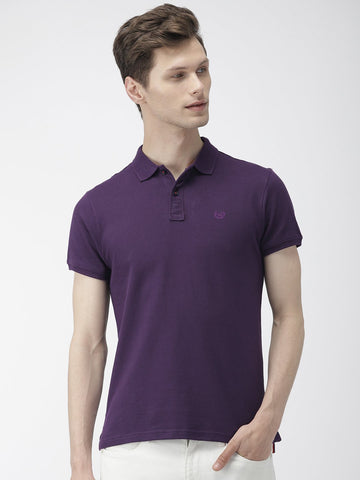 Purple Green Solid Polo