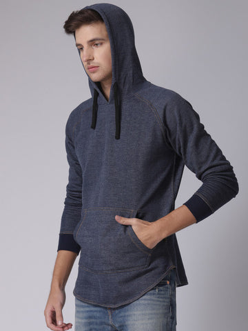 Men Blue Solid Hooded Sweatshirt